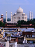 Taj Mahal and City Rooftops, Agra, Uttar Pradesh, India Photographic Print by Richard I'Anson
