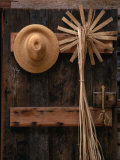 Straw Hat and Broom on Wall, Williamsburg, USA Photographic Print by Rick Gerharter