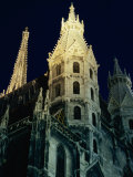 Towers of Stephansdom Cathedral at Night, Innere Stadt, Vienna, Austria Photographic Print by Richard Nebesky