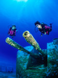 Diving Near the Shipwreck Mv Capt Tibbets off Cayman Brac, Cayman Islands Photographic Print by Michael Lawrence