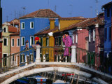 People Crossing Bridge Over a Canal, Burano, Veneto, Italy Photographic Print by Roberto Gerometta