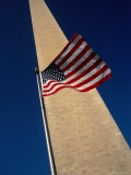 Flag and Washington Monument, Washington Dc, USA Photographic Print by Rick Gerharter