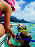 Children Snorkelling from Motor Boat, French Polynesia Photographic Print by Philip & Karen Smith