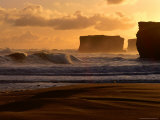 Rugged Coastline and Waves on Beach, Port Campbell National Park, Australia Photographic Print by Rodney Hyett