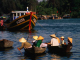 Boat Traffic in Hoi An, Hoi An, Quang Nam, Vietnam Photographic Print by John Banagan