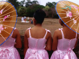 Bridesmaids at Wedding, Angkor Wat, Angkor, Cambodia Photographic Print by Michael Coyne