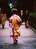 Geisha in Kimono Walking Away, Pontocho Districts, Kyoto, Japan Photographic Print by Phil Weymouth