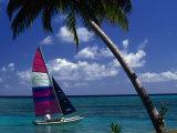 Man Sailing Boat, Wakaya Island, Eastern Division, Fiji Photographic Print by John Borthwick