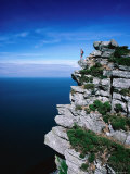 Standing on Edge of Cliff Top in the Valley of the Rocks, Exmoor National Park, United Kingdom Photographic Print by Mark Daffey