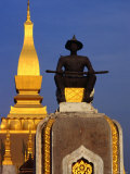 Statue of Seated King Setthathirat in Grounds of Pha That Luang, Vientiane, Laos Photographic Print by John Banagan