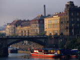 Buildings Alongside and Bridge Over Vltava River, Prague, Czech Republic Photographic Print by Brent Winebrenner