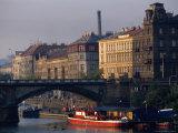 Buildings Alongside and Bridge Over Vltava River, Prague, Czech Republic Photographic Print by Brent Winebrenner