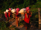 Akha Women Carrying Shopping Home, Muang Sing, Laos Photographic Print by Kraig Lieb