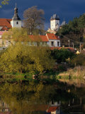 Village Buildings Reflected in Water, Karlstejn, Czech Republic Photographic Print by Richard Nebesky