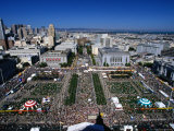 Aerial View of the Civic Centre on Gay Day, San Francisco, USA Photographic Print by Rick Gerharter