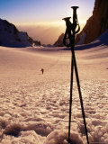 Ski Poles at Sunset on Tirich Glacier, Tirich Mir, Pakistan Photographic Print by Grant Dixon