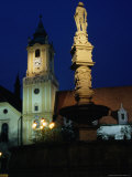 Maxmilian Fountain on Plaza, Hlavne Namestie, Bratislava, Slovakia Photographic Print by Richard Nebesky