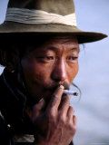 Portrait of Man Smoking, China Photographic Print by Frank Carter