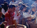 People Praying and Burning Insence Sticks, Wong Tai Sin Temple, Hong Kong Photographic Print by Richard I'Anson