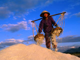 Female Labourer Carrying Sea Salt in Salt Fields of Doc Let Beach, Khanh Hoa, Vietnam Photographic Print by John Banagan