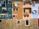 Washing Hanging from House Windows in La Vila Joiosa, Benidorm, Spain Photographic Print by Mark Daffey