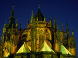 St Vitus's Cathedral at Night, Prague, Czech Republic Photographic Print by Richard Nebesky