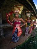 Young Rejang Dancers Circle Pavilion Accompanied by Traditonal Gamelan Ganbang, Indonesia Photographic Print by Adams Gregory