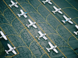 Aerial of Light Aircraft Parked on the Tarmac at Moorabbin Airport, Melbourne, Australia Photographic Print by Rodney Hyett