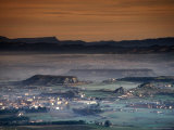 Overhead of Houses and Hills in Mist Filled Valley, Tona, Spain Photographic Print by Mark Daffey