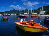 Harbour Boats with Peaks of Mt. Ikurangi and Te Manga Beyond, Rarotonga, Cook Islands Photographic Print by Grant Dixon