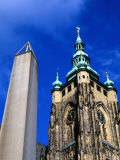Plecnik's Monolith (By Joze Pleenik) Next to St. Vitus's Cathedral, Prague, Czech Republic Photographic Print by Richard Nebesky