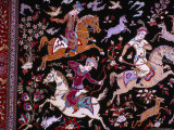 Hunting Scene on Carpet from Ghom, Iran Photographic Print by Glenn Beanland