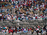 Spectators Sitting on Inca Walls Watching Inti Raymi Festival, Sacsayhuaman, Cuzco, Peru Photographic Print by Richard I'Anson