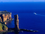 Passenger Ferry Passing Seastack Formation Known as Old Man of Hoy, Wester Ross, Scotland Photographic Print by Gareth McCormack