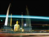 Moving Traffic at Democracy Monument, Bangkok, Thailand Photographic Print by Ryan Fox
