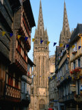Towers of Cathedral St. Corentin in Rue Kereon, Quimper, France Photographic Print by Martin Moos