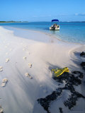 Empty Beach with Snorkelling Gear and Sandy Footprints Near Georgetown, George Town, Bahamas Photographic Print by Michael Lawrence