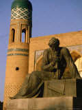 Statue Outside Mohammed Amin Khan Madrassa, Khiva, Khorezm, Uzbekistan Photographic Print by Jane Sweeney