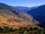 Kuru Chhu Valley with Snow-Capped Tangmachu Mountain in Background, Lhuntse, Bhutan Photographic Print by Nicholas Reuss
