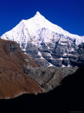 Snow-Capped Mountain Peak, Jichu Drakye, Bhutan Photographic Print by Nicholas Reuss