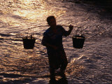 Man Carrying Buckets, Vietnam Photographic Print by Oliver Strewe