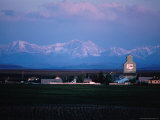 Small Town of Cayley with Rocky Mountains Behind, Canada Photographic Print by Rick Rudnicki