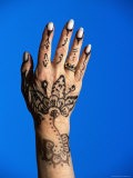 Henna (Mendhi) Design on Hand, Egypt Photographic Print by Lee Foster