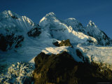 Snow Covered Mountain Peaks in Light of Setting Sun, Vilcanota, Cuzco, Peru Fotografie-Druck von Richard I&#39;Anson