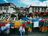 Prayer Flags for Sale at Market on Barkhor, Outside Jokhang Temple, Lhasa, Tibet Photographic Print by Richard I'Anson