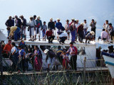 Passengers Standing on Roof of Boat on Lago De Atitlan, Santiago Atitlan, Solola, Guatemala Photographic Print by Tony Wheeler