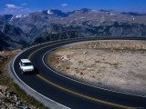 Car on Windy Road Near Beartooth Pass Beartooth Wilderness, Montana, USA Photographic Print by Rob Blakers