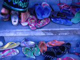 Thongs and Sandals Are Discarded as Local Dancers Practice in the Village of Timbrah, Indonesia Photographic Print by Adams Gregory
