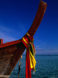 Bow of Traditional Longtail Boat with Coloured Cloth to Appease Sea Spirits, Thailand Photographic Print by Kraig Lieb