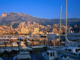 Luxury Yachts Docked in the Harbour at Sunrise, Monaco, Monaco Photographic Print by David Tomlinson